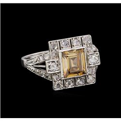 1.20 ctw Fancy Light Brown Diamond and White Sapphire Ring - Platinum