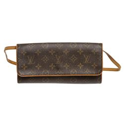 Louis Vuitton Monogram Canvas Leather Twin GM Clutch Shoulder Bag