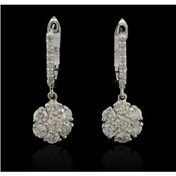 1.58 ctw Diamond Earrings - 14KT White Gold