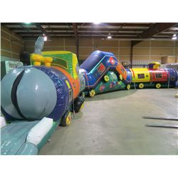 "NINJA JUMP "" CHUGGY - CHOO -CHOO "" INFLATABLE C- CURVE STYLE ADVENTURE OBSTACLE COURSE"