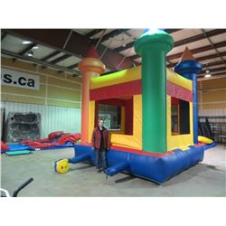 INFLATABLE BOUNCY CASTLE WITH PUMP MEASURES APPROX  12.6' X 12.6' X 18' (INCLUDES 1 PUMP)