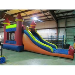 INFLATABLE BOUNCY CASTLE WITH SLIDE COMBO  PUMP MEASURES 31' X 13' X 16' (INCLUDES 1 PUMP)
