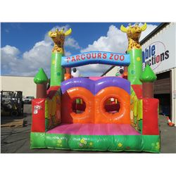 INFLATABLE CLIMBING ZOO ADVENTURE BOUNCY  PLAYGROUND (APPROX SIZE 13' X 28'X20H)