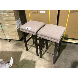 """PAIR OF BEIGE BAR STOOLS APPROX 28"""" IN HEIGHT"""