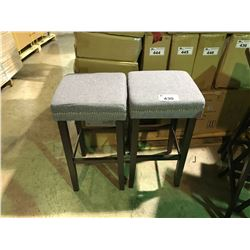 "PAIR OF GREY BAR STOOLS  APPROX 28"" IN HEIGHT"