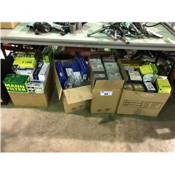 4 BOXES OF FILTERS AND ASSORTED CAR PARTS FOR IMPORTS & VOLKSWAGENS