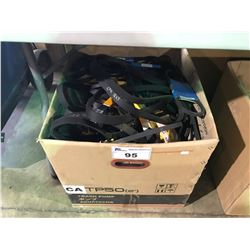 BOX OF ASSORTED BELTS AND AUTOMOTIVE PRODUCTS FOR IMPORTS & VOLKSWAGENS