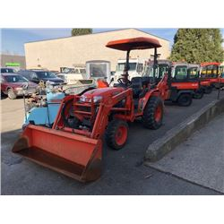 2007 KUBOTA B3030 TRACTOR, ORANGE, SERIAL #565227 WITH LA403 FRONT END LOADER, BH75 BACKHOE