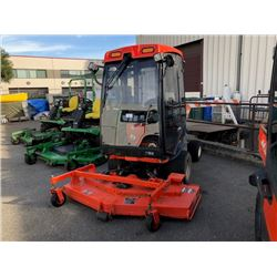 2011 KUBOTA ENCLOSED RIDE ON MOWER, F3680, ORANGE, SERIAL #16450, 1359 HOURS, DIESEL