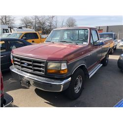 1993 FORD F-250XL, RED, PICKUP, GAS, AUTOMATIC, VIN#2FTHF25H0PCA11076, 90,942KMS, RD,CC,AC,CR,