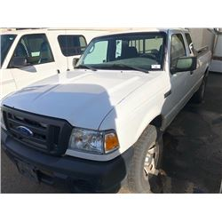 2008 FORD RANGER, WHITE, 2 DOOR, GAS, AUTOMATIC, VIN#1FTZR45E18PA37621, 153,730KMS, RD,CD,TH,4W,AC,