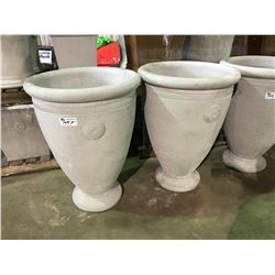 "PAIR OF LARGE 40"" GARDENSTONE FLUTED FLOWER POTS"