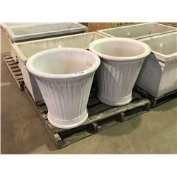 "PAIR OF LARGE 24"" GARDENSTONE FLUTED FLOWER POTS"