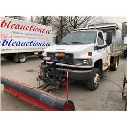 2008 GMC DUMP TRUCK, C5500, WHITE, DIESEL, AUTOMATIC, VIN#1GDG5C3928F415885, 71,281KMS, RD,TH,4W,
