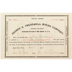 George A. Treadwell Mining Company Stock Certificate