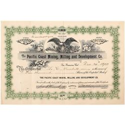 Pacific Coast Mining, Milling and Development Co. Stock Certificate