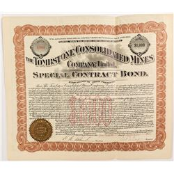 Tombstone Consolidated Mines Bond signed by E.B. Gage