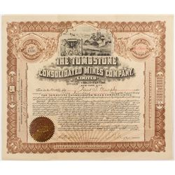 Tombstone Consolidated Mines Certificate signed by E.B. Gage