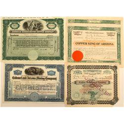 5 Arizona Mining Stock Certificates