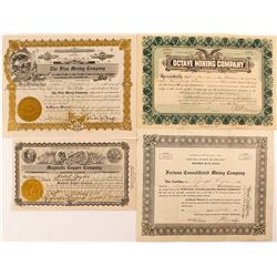 Four Different Arizona Mining Stock Certificates