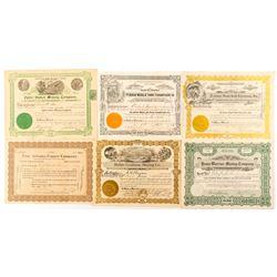 Six Different Arizona Stock Certificates