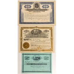 Three Different Arizona Mining Stock Certificates
