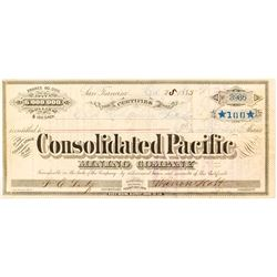 Consolidated Pacific Mining Company Stock Certificate (Bodie, CA)