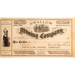 Swallow Mining Co. Stock Certificate, Downieville, Cal.