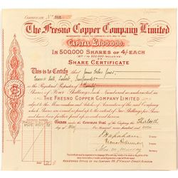 The Fresno Copper Company Limited Stock Certificate