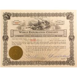 World Exploration Co. Stock Certificate, Death Valley 1927