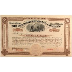 "Quicksilver Mining Co. ""SPECIMEN"" Stock, New Almaden, Rare Thermometer Variety"