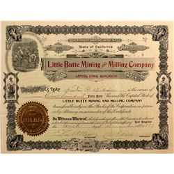 Little Butte Mining & Milling Co. Stock Cert.- Randsburg, Cal. 1897