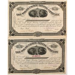 Two South Pacific Mining Company Stock Certificates