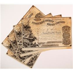 Five Tuolumne County Water Company Stock Certificates