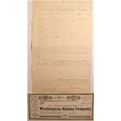 Washington Gold Mining Co. Supt. Report (1882) and Stock Certificate