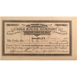 Willow Creek Gold Mining Co. Stock, Yuba County, Cal. 1882