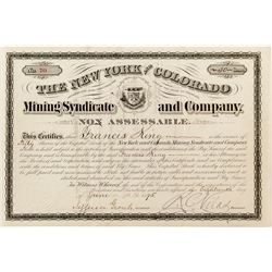 New York and Colorado Mining Syndicate and Company Certificate