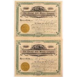 Chicago Gold Mining Company Stock Certificate Pair