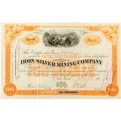 Iron Silver Mining Company Stock Certificate (Lake County, Colorado)