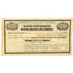 The Baskin Consolidated Mining and Milling Company Stock Certificate