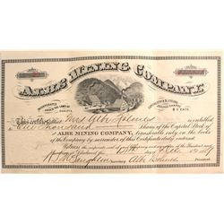 Albe Mining Co. Stock Certificate, Deadwood, Dakota Territory 1889