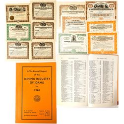 12 Mining Stock Certificates and an Idaho Mining Book