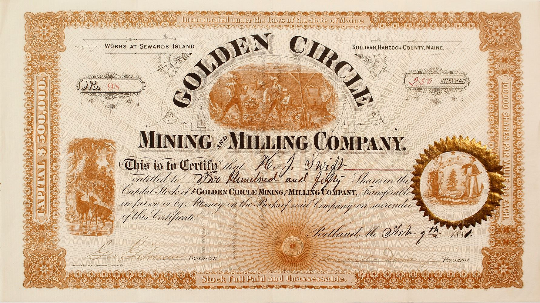 Golden Circle Mining And Milling Company Stock Certificate Sewards