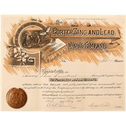 Second Porter Zinc and Lead Mining Company Stock Certificate
