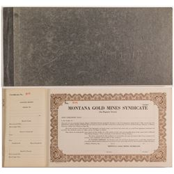 Montana Gold Mines Syndicate Stock Certificate Book