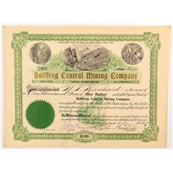 Bullfrog Central Mining Company Certificate signed by Wingfield