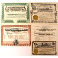 Group of 5 Bullfrog, Nevada Mining Stocks Issued 1905-1907