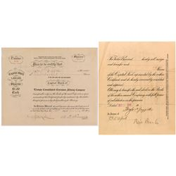 Tramps Consolidated Extension Mining Company Stock Certificate