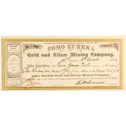 Como Eureka Gold and Silver Mining Company Stock Certificate