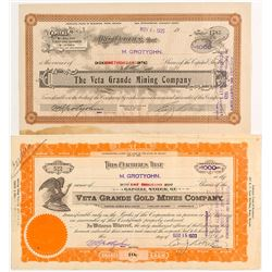 Veta Grand Mining Stock Certificates